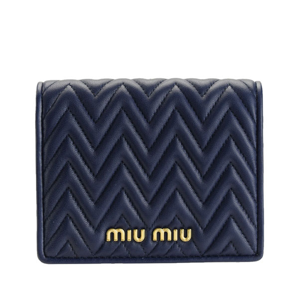 ミュウミュウ MIUMIU 二つ折り財布 アウトレット 5mv204naim-blue-zz | 二つ折り ウォレット サイフ さいふ 財布 ブランド ミニ財布 小銭入れ カード入れ 多い オシャレ レディース かわいい 可愛い 大人可愛い キルティング