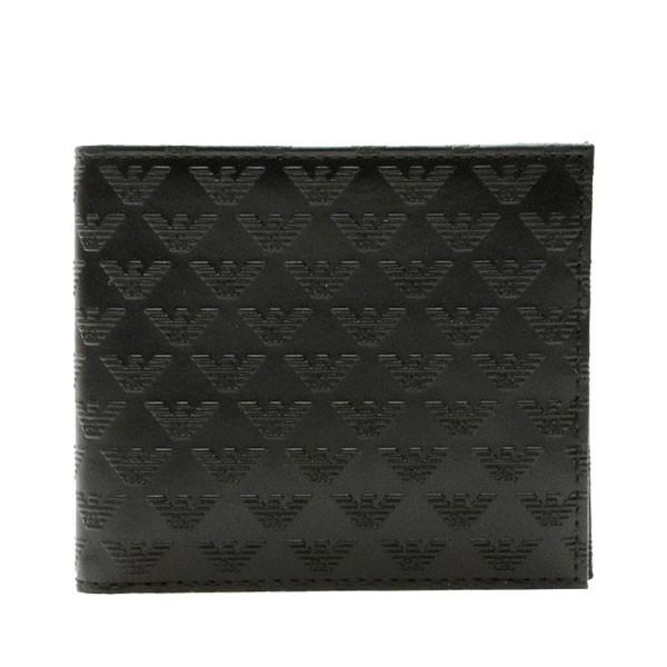 エンポリオアルマーニ 財布 EMPORIO ARMANI メンズ 二つ折り財布 ブラック レザー yem122-yc043-80001