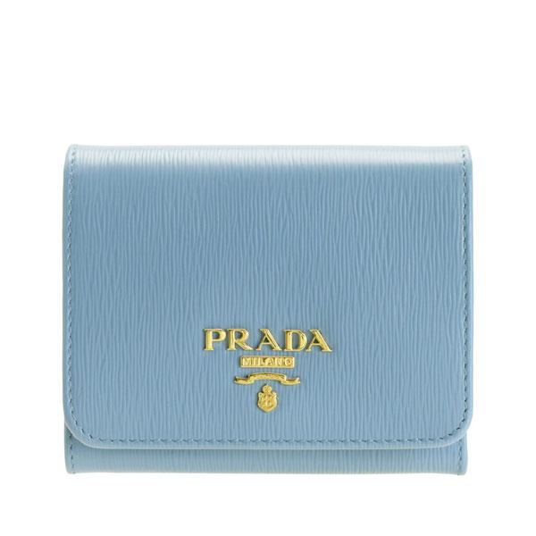 プラダ PRADA ショップ袋付き 三つ折り財布 アウトレット 1mh176vitmov-astr | さいふ サイフ ウォレット 財布 カード 収納 オシャレ おしゃれ シンプル ブランド レザー