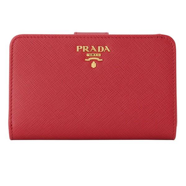 プラダ PRADA ショップ袋付き 二つ折り財布 レディース レッド 1ml225safmet-fuoc