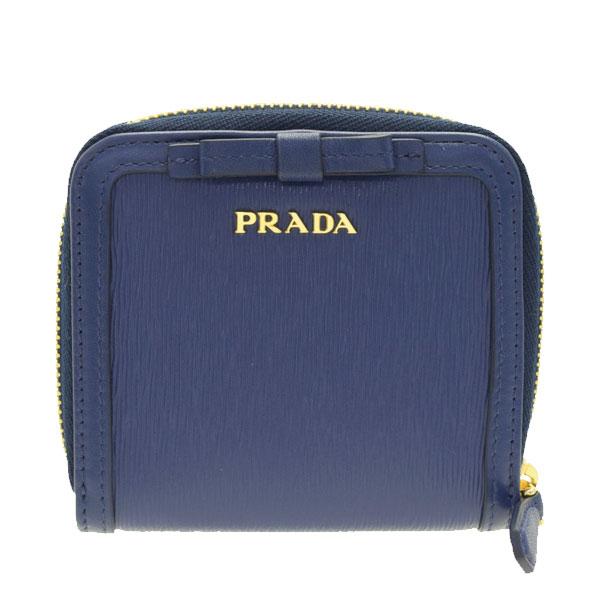 プラダ PRADA 二つ折り財布 リボン アウトレット 1ml522vimofi-blue | ファスナー 小銭入れ さいふ サイフ ウォレット 財布 カード入れ 多い レディース かわいい 可愛い 使いやすい おしゃれ オシャレ ブランド 本革 春 令和 記念
