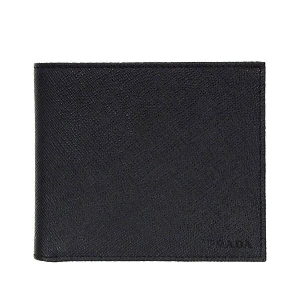 プラダ PRADA メンズ 二つ折り財布 ブラック レザー 2mo738saf-nero