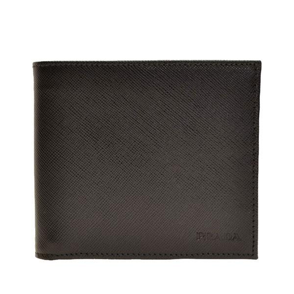 プラダ PRADA ショップ袋付き メンズ 二つ折り財布 ブラック サフィアノレザー 2mo738saf1-nero