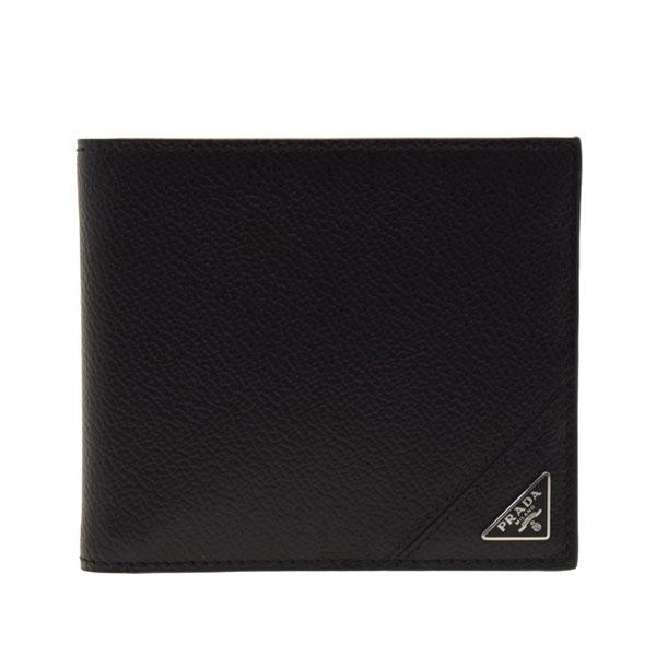 プラダ PRADA ショップ袋付き 二つ折り財布 メンズ アウトレット 2mo738vigt-nero-zz | 二つ折り ウォレット サイフ さいふ 財布 ブランド財布 小銭入れ カード入れ 多い かっこいい 使いやすい オシャレ おしゃれ 本革