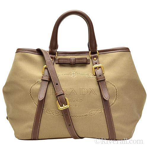 95be3a1ad05d ... uk prada bags prada 2 way tote bag brown jacquard canvas x leather  bn1841logjac cobru f096b