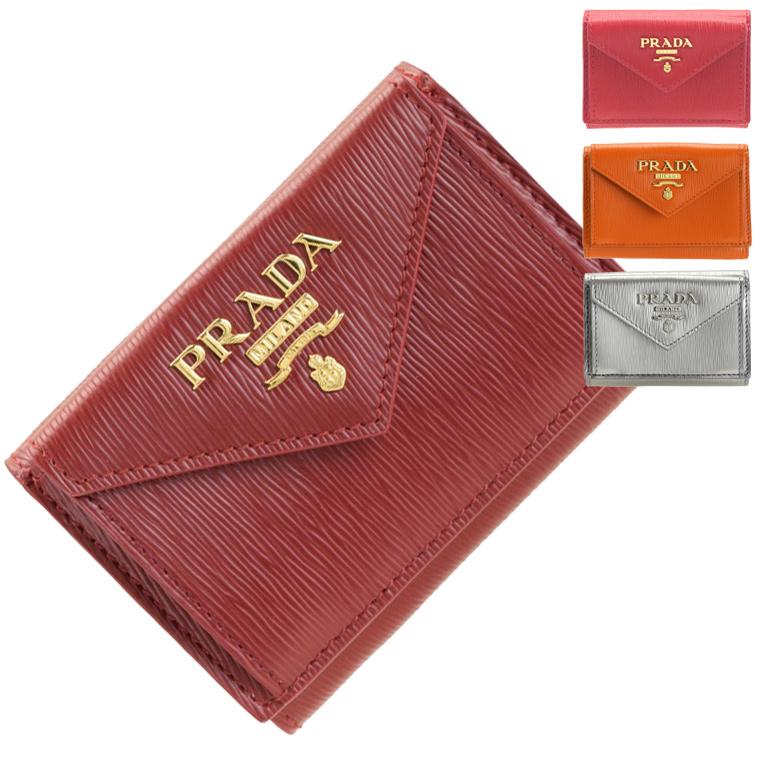 プラダ PRADA ショップ袋付き 三つ折り財布 ミニ アウトレット 1mh021 | さいふ サイフ ウォレット 財布 コンパクト レディース かわいい 可愛い 使いやすい シンプル おしゃれ オシャレ 本革