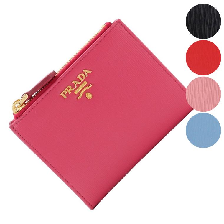 プラダ PRADA ショップ袋付き 二つ折り財布 1ml024 | ウォレット サイフ さいふ 財布 小銭入れ ファスナー カード入れ レディース かわいい 可愛い 使いやすい おしゃれ オシャレ ブランド