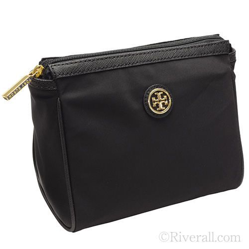 Tory Burch Cosmetic Bag Case Dena Nylon Black X Leather 28159309 001 Toryburch