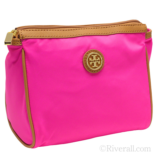 Tory Burch Cosmetic Bag Dena Nylon Case Neon Pink X Leather 28159309 561