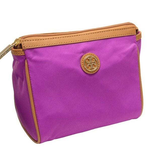 Tory Burch Cosmetic Bag Case Dena Nylon Orchid Purple X Leather 28159309 612