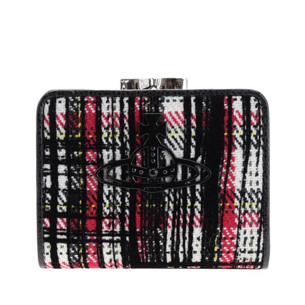 ヴィヴィアン・ウエストウッド Vivienne Westwood 二つ折り財布 チェック柄 51010019-white   ウォレット 財布 ミニ財布 小銭入れ カード入れ 多い レディース 可愛い 小さめ コンパクト ブランド コットン 本革 item715