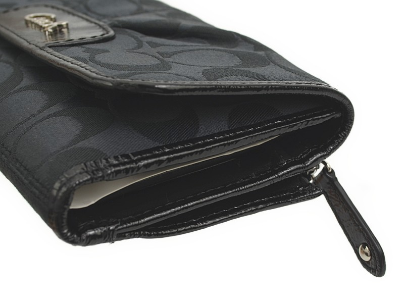 Black COACH Ashley signature checkbook wallet F46198