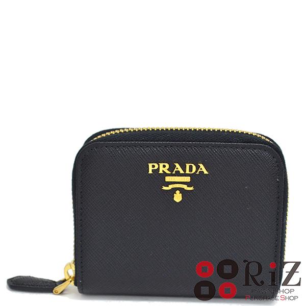 【中古】 PRADA (プラダ) サフィアーノ ラウンドコインケース 財布 小銭入れ/コインケース SAFFIANO METAL Black 1MM268 S:極上品