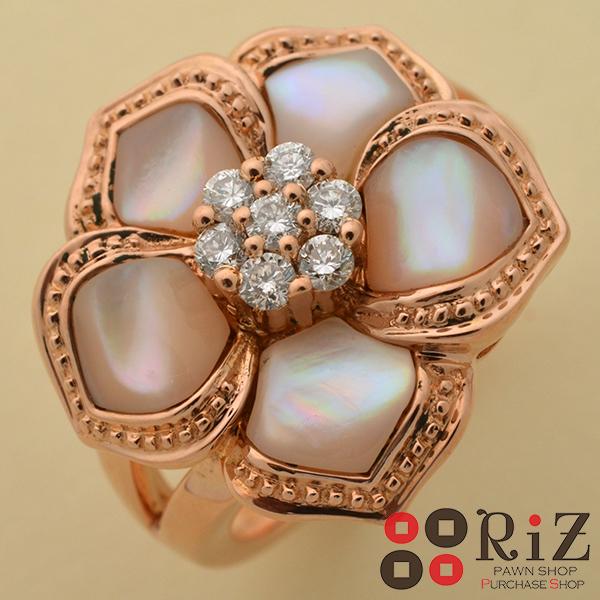 【中古】 K18PG シェル ダイヤモンドリング ジュエリー 指輪 リング