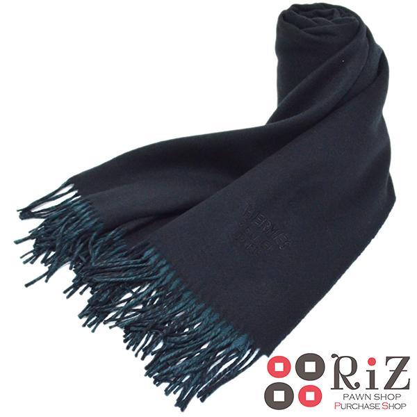 【中古】 HERMES (エルメス) カシミヤマフラー 服飾 マフラー/スカーフ/ネクタイ Black