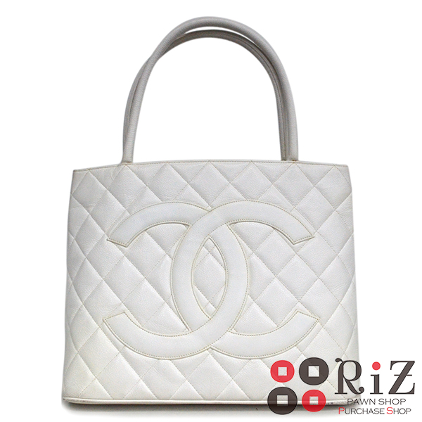 680825f59a8d 【中古】 CHANEL (シャネル) バッグ トートバッグ CaviarSkin White A1804 used:B 復刻トート-トートバッグ