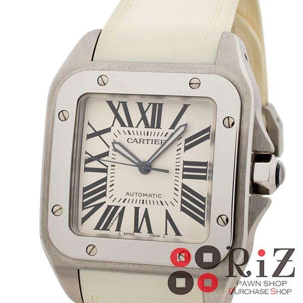 【6/21値下げ品】【中古】 Cartier (カルティエ) サントス 100 LM 時計 自動巻き/メンズ White W20073X8 used:B