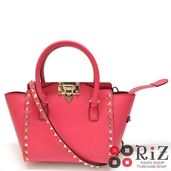 【値下げ品】【中古】 Valentino Garavani (ヴァレンティノガラヴァーニ) ロックスタッズ 2WAYスモールトートバッグ バッグ トートバッグ Pink/ピンク KW2B0856BOL unused:S