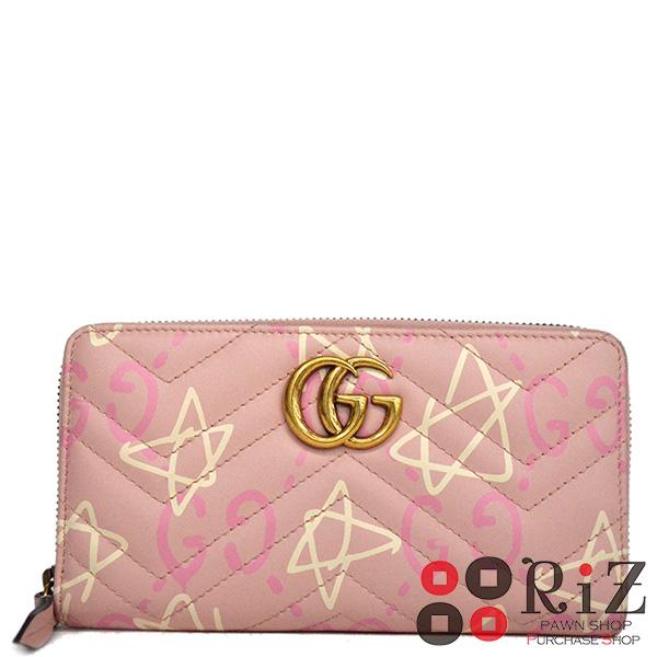 【値下げ品】【中古】 GUCCI (グッチ) ゴースト ジップ アラウンド ウォレット 財布 長財布(小銭入有) Ghost Pink 448087 used:A
