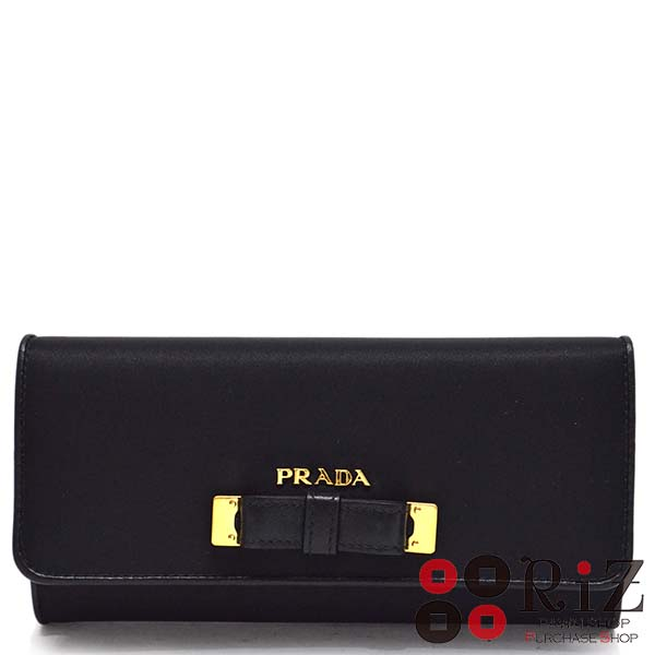 【最終値下げ品】【中古】PRADA (プラダ) テスート 二つ折り長財布 財布 長財布(小銭入有) TESSUTO FIOCCO Black 1MH132 used:A