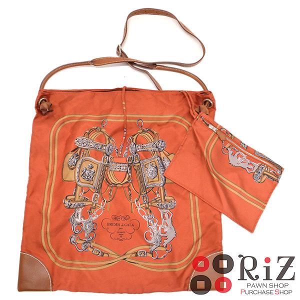 【6/21値下げ品】【中古】 HERMES (エルメス) シルキーシティMM バッグ ショルダー/メッセンジャーバッグ SILKYCITY Orange 056095CC used:B
