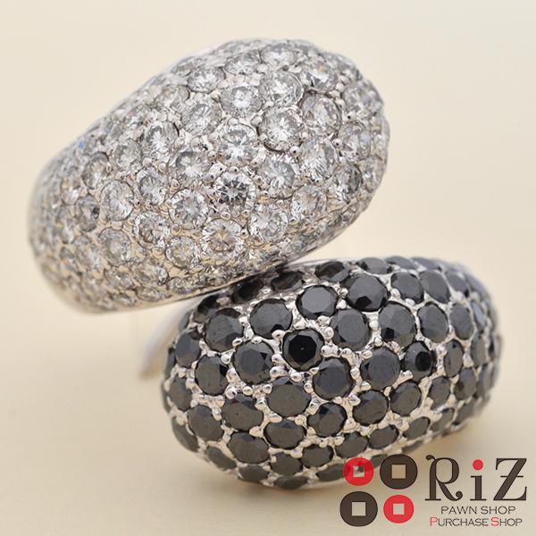 【中古】 K18WG ホワイト&ブラックダイヤモンドリング ジュエリー 指輪