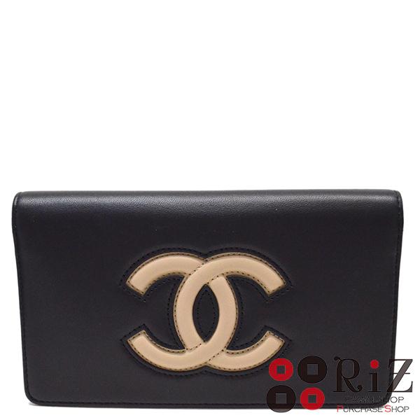 【中古】 CHANEL (シャネル) ココマーク 二つ折り長財布 財布 二つ折り財布(小銭入有) Bi-color Black A80891 unused:S
