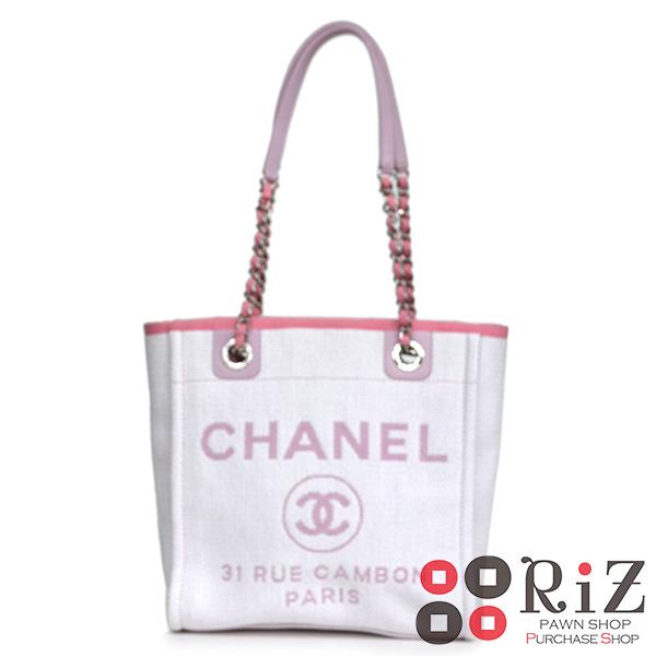 【中古】 CHANEL (シャネル) ドーヴィル キャンバストートバッグ バッグ トートバッグ DEAUVILLE Pink A66939 used:A
