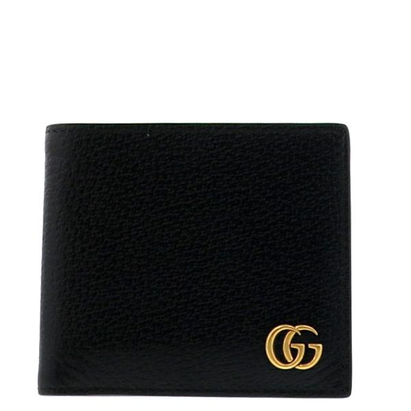 【中古】【極上品】 GUCCI (グッチ) GGマーモント 二つ折り財布 財布 二つ折り財布(小銭入有) GG Marmont Black 428725 unused:S