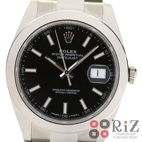 【中古】ROLEX (ロレックス) デイトジャスト 41 時計 自動巻き/メンズ Datejust Black 126300 bnwt:N