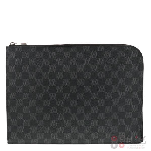 【美品】【中古】 LOUIS VUITTON (ルイヴィトン) ポシェット・ジュール GM バッグ セカンドバッグ/ポーチ/クラッチ ダミエ・グラフィット Black N41501 used:A