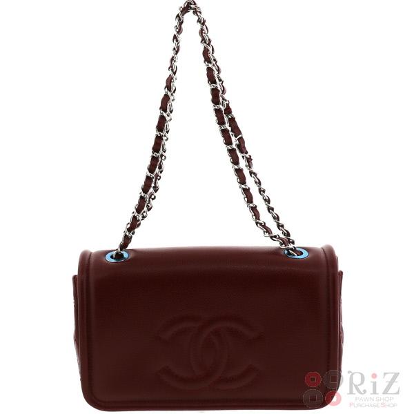【中古】 CHANEL (シャネル) キャビアスキン チェーンショルダーバッグ バッグ トートバッグ Bordeaux/ボルドー