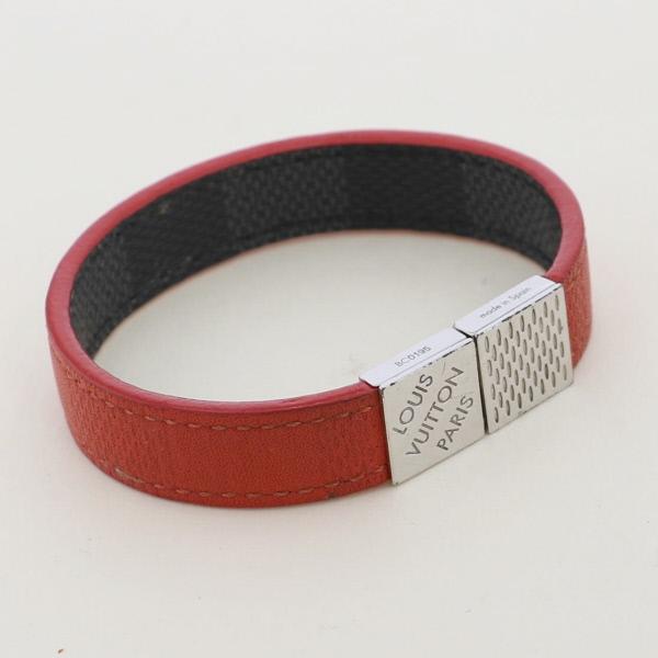 【中古】 LOUIS VUITTON (ルイヴィトン) ブラスレ・プルイット 小物 ブレスレット/バングル/アンクレッ damier-graphite Red M6190E used:B