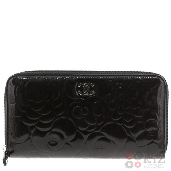 【中古】CHANEL (シャネル) ラウンドファスナー長財布 財布 長財布(小銭入有) Camellia Black A50085 used:B