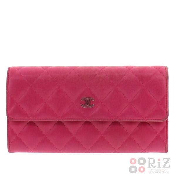 【中古】CHANEL (シャネル) タイムレスクラシック 二つ折り長財布 財布 長財布(小銭入有) Pink A50096 used:B
