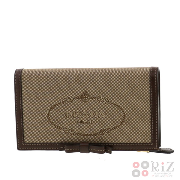 【中古】PRADA (プラダ) LOGO JACOQARD コンパクト財布 財布 二つ折り財布(小銭入有) Beige 1ML009 bnwt:N
