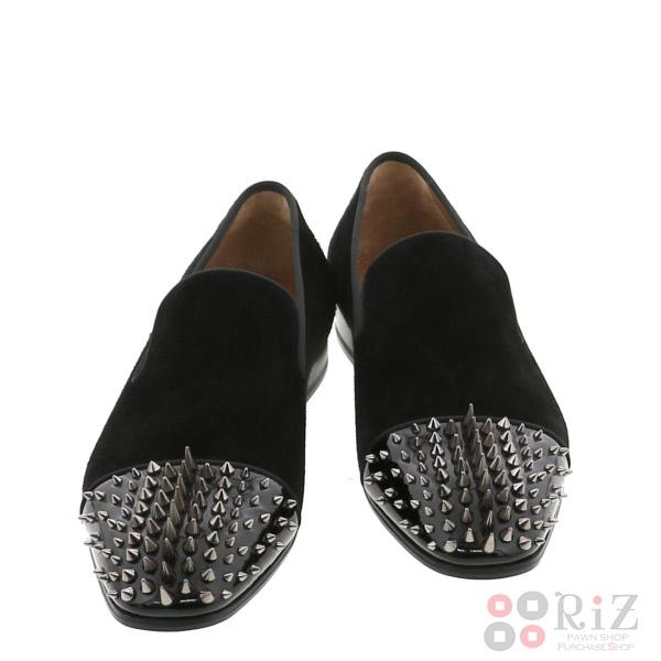 【中古】 Christian Louboutin (クリスチャンルブタン) Dynodent Flat Suede 靴 靴/メンズ Dynodent Black 3160225 unused:S