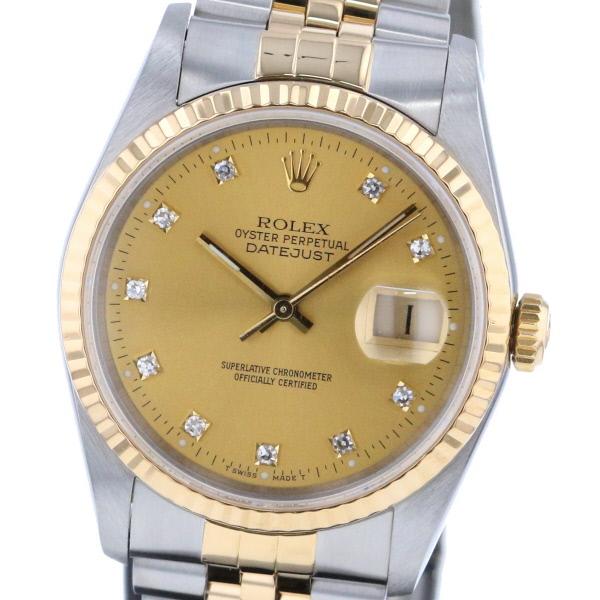 【即日発送】【美品】【中古】【廃番】 ROLEX (ロレックス) デイトジャスト シャンパン 10P 時計 自動巻き/メンズ DATEJUST Gold/ゴールド 16233G used:A