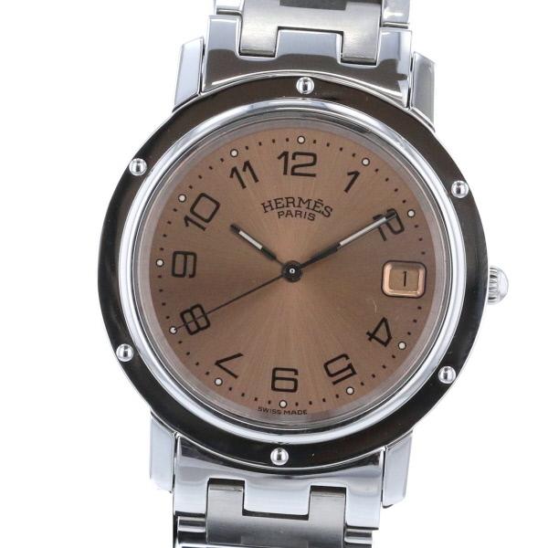 【中古】HERMES (エルメス) クリッパー 時計 クオーツ/メンズ CLIPPER Brown CL6.710 used:A