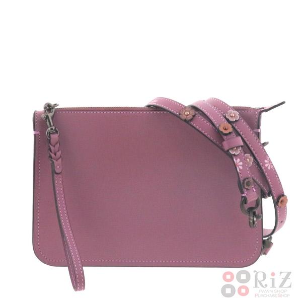 【中古】 COACH (コーチ) フラワーストラップ 2WAYレザーショルダーバッグ バッグ ショルダー/メッセンジャーバッグ Shoulder Bag Purple 21037 used:A