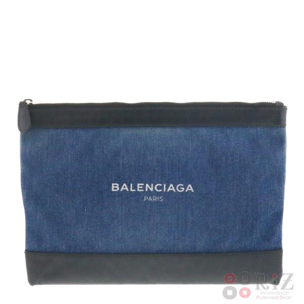 【即日発送】【中古】 BALENCIAGA (バレンシアガ) NAVY CLIP M バッグ セカンドバッグ/ポーチ/クラッチ Indigo/インディゴ 420407 used:B