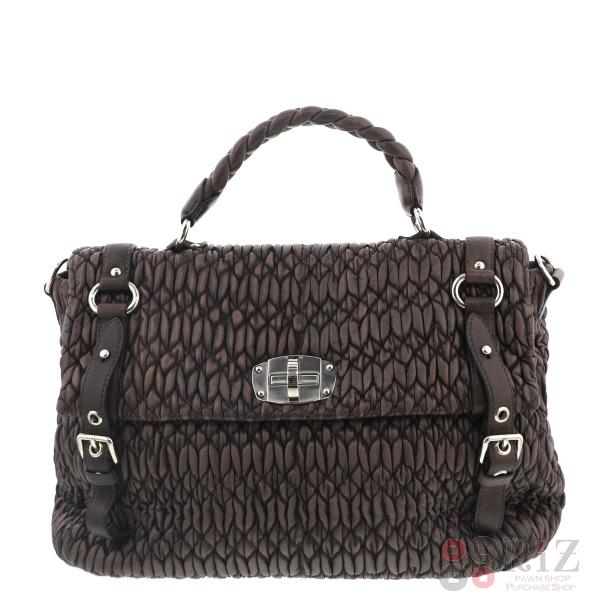 【中古】MIUMIU (ミュウミュウ) キルティングレザー 2WAY ハンドバッグ バッグ ショルダー/メッセンジャーバッグ Hand Bag FREE used:B