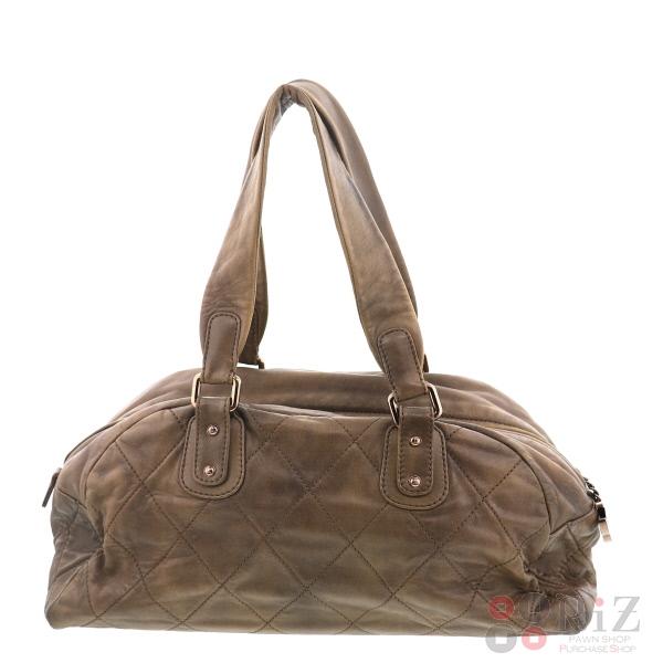 【中古】CHANEL (シャネル) ラムスキン マトラッセ ボストンバック バッグ ボストンバッグ Boston Bag Gold FREE used:B