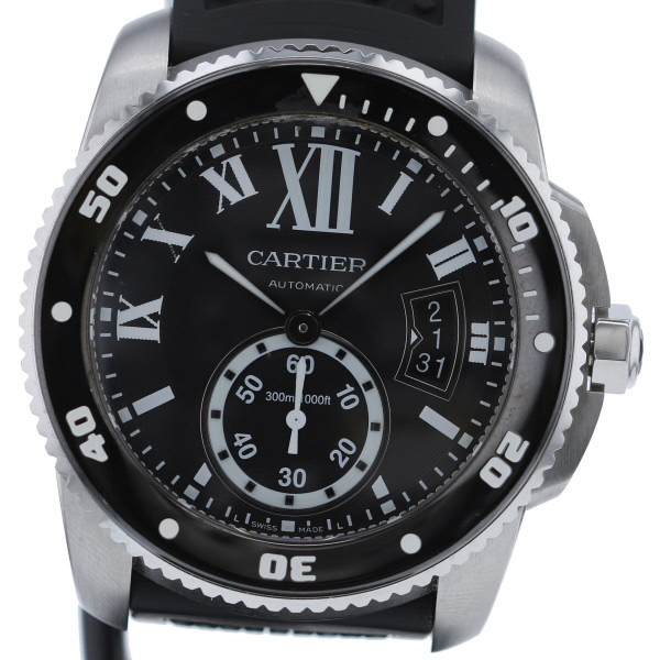 【中古】Cartier (カルティエ) カリブル ドゥ カルティエ ダイバー 時計 自動巻き/メンズ Black W7100056 used:A