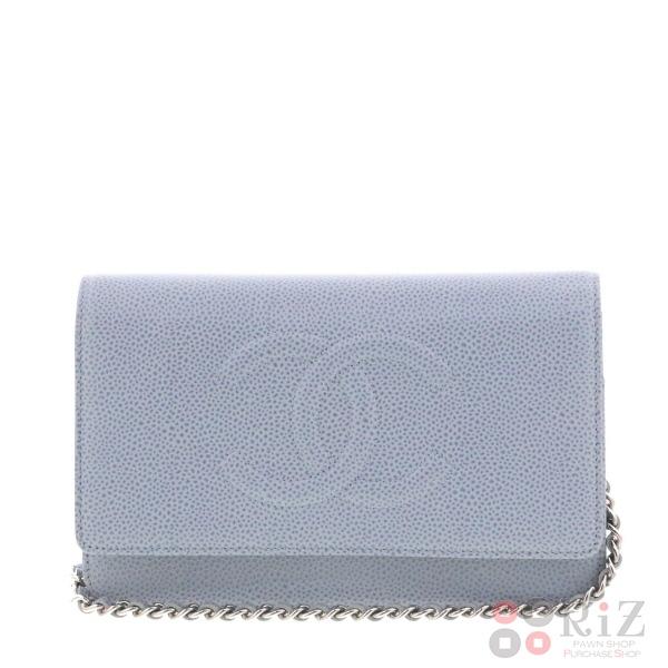 【中古】 CHANEL (シャネル) キャビアスキン チェーンウォレット バッグ ショルダー/メッセンジャーバッグ Blue A48654 used:A