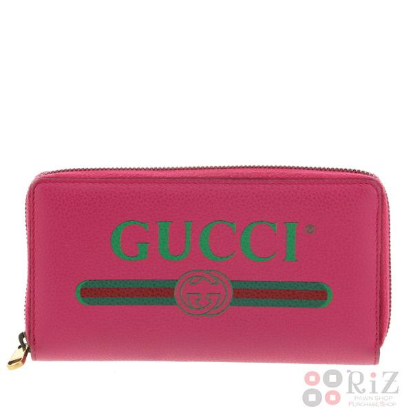 【中古】 GUCCI (グッチ) レザー ジップアラウンドウォレット 財布 長財布(小銭入有) GUCCI print Pink 496317 used:B