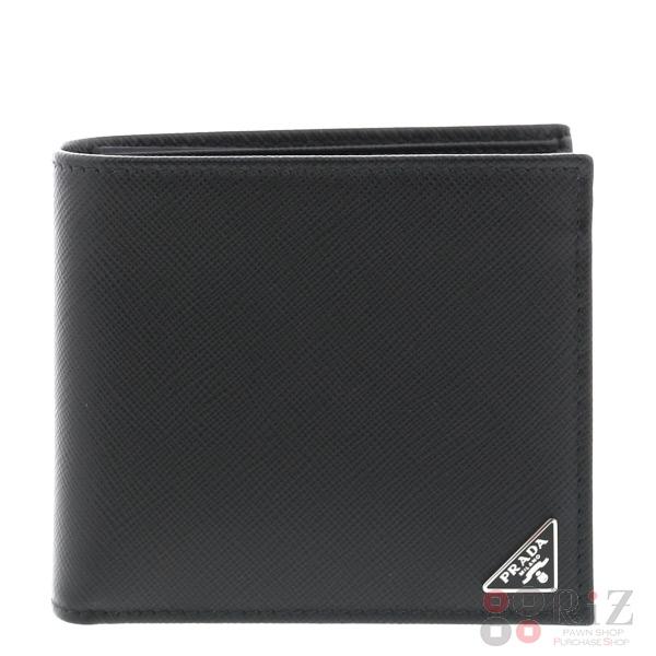 【中古】 PRADA (プラダ) サフィアーノ 二つ折り財布 財布 二つ折り財布(小銭入有) SAFFIANO Black 2MO738 bnwt:N