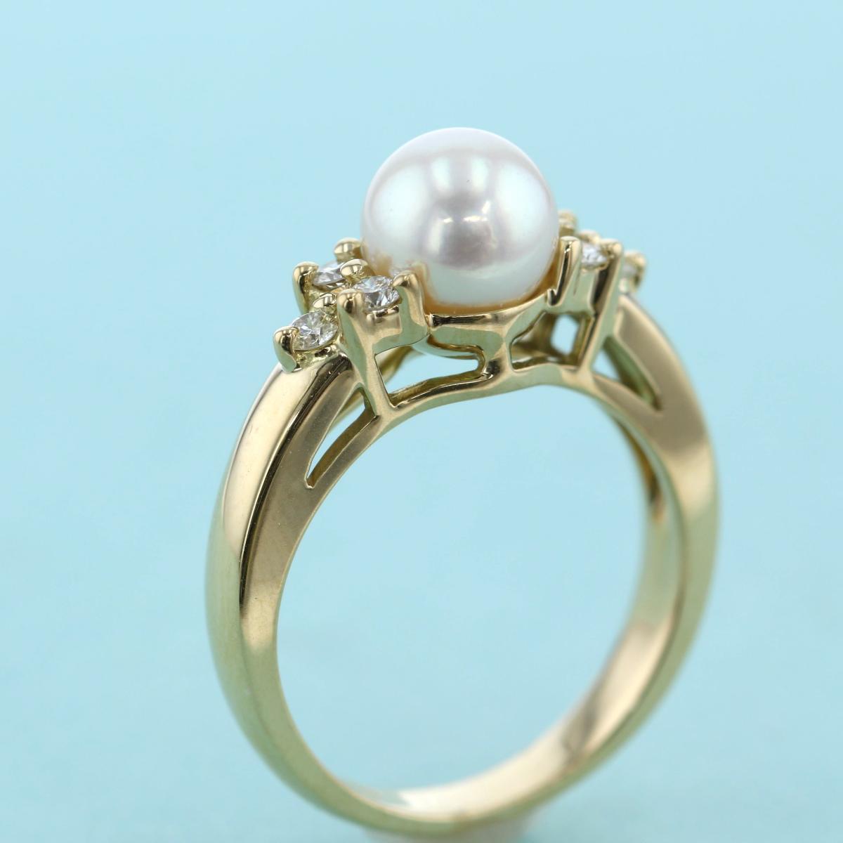 【中古】Tiffany&Co. (ティファニー) パール ダイヤモンド リング 750YG ブランドジュエリー 指輪 イエローゴールド used:A