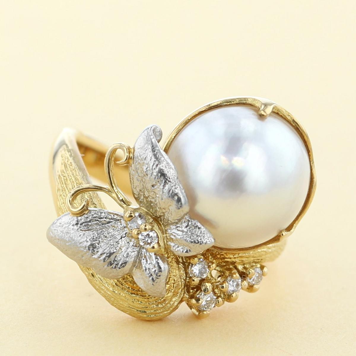 【中古】 小川和夫 K18YG PT900 パール ダイヤモンドリング ブランドジュエリー 指輪