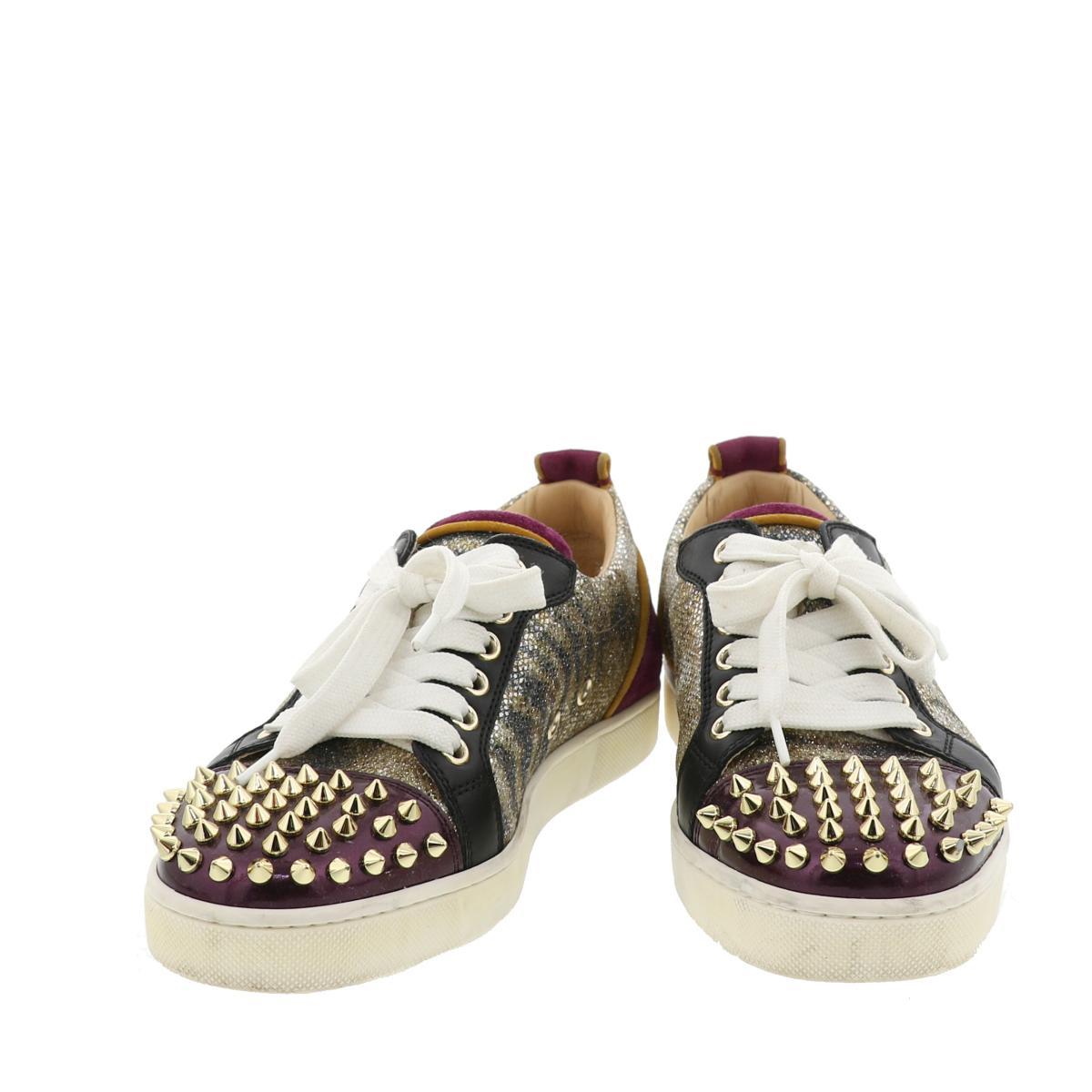 【中古】Christian Louboutin (クリスチャンルブタン) Louis Junior Spikes Version Gold 靴 靴/メンズ Sneakers Purple/パープル ルイスジュニア スパイク グリッター used:A